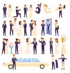 Groom icons set cartoon style vector