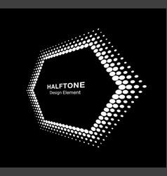 halftone distort hexagon in perspective vector image