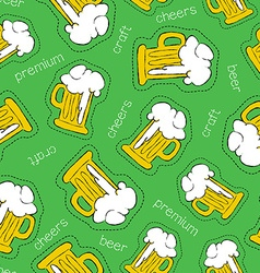 Hand drawn beer patch icon seamless pattern vector