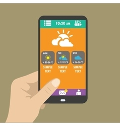 Hand holding smart phone weather icons for web vector image