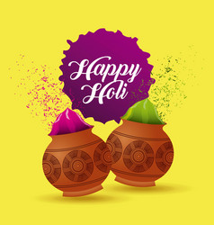 Happy holi poster mud pot color filled yellow vector