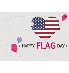 Happy USA Flag day American Heart symbol vector