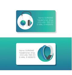 headphone business card headset listening vector image