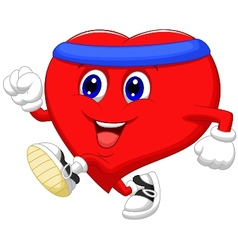 Heart cartoon running to keep healthy vector