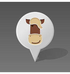 Horse pin map icon Animal head vector