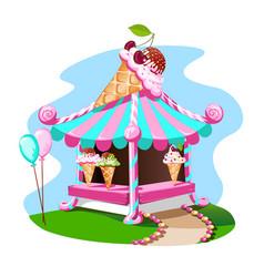 Ice cream stall with tasty decor vector