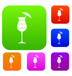 layered cocktail with umbrella set collection vector image