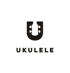 Letter u uke ukulele guitar music hawaii logo vector