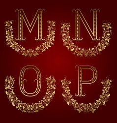 m n o p vintage monograms in floral wreaths vector image