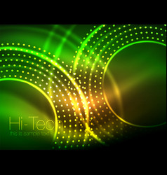Magic neon circle shape abstract background shiny vector