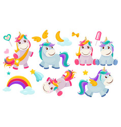 magic unicorns balittle fairytale animals pony vector image