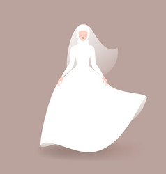 muslim bride in wedding dress and veil vector image