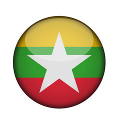 myanmar flag in glossy round button of icon vector image