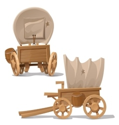Old wooden cart with shot through canopy vector