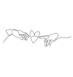 one line male and female hand drawn to heart vector image