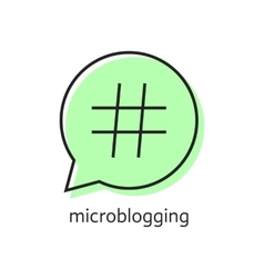 Outline hashtag icon in green speech bubble vector