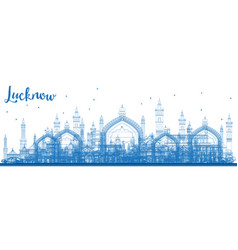 outline lucknow skyline with blue buildings vector image