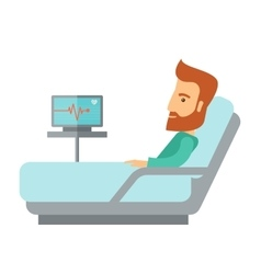 Patient lying in the hospital bed vector