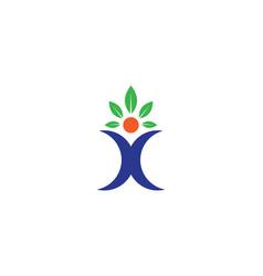 people leaf logo vector image