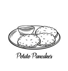 Potato pancake food outline icon vector