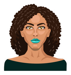 pretty girl with curly hair on white background vector image