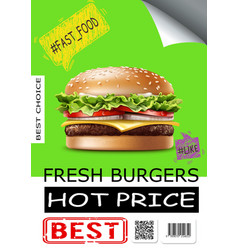 realistic fast food advertising poster vector image