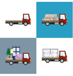 Red small trucks with different loads vector