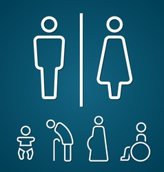 Restroom male female pregnant cripple oldster sign vector image