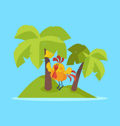 rooster bird on tropic island cock at rest vector image