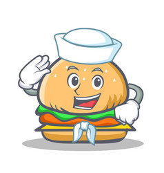 Sailor burger character fast food vector