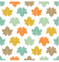 seamless colored maple leaves pattern vector image