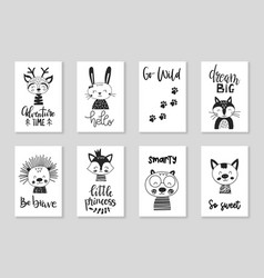 set cute handdrawn monochrome animals in vector image