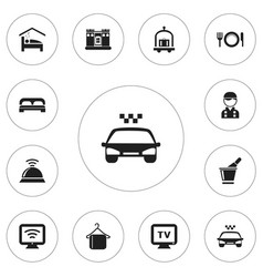 set of 12 editable plaza icons includes symbols vector image