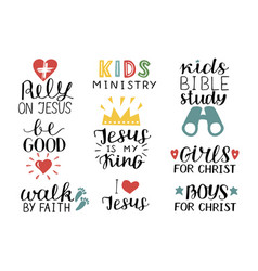 set of 9 hand lettering christian quotes jesus is vector image