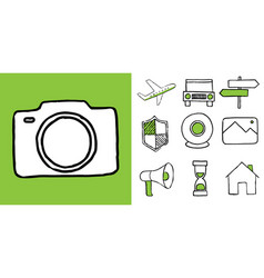 set of technology and travel doodle icons vector image