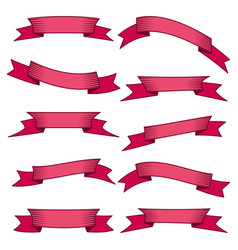 set of ten red ribbons and banners for web design vector image