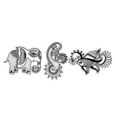 set of three hand drawing animals - elephant vector image