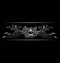 silver indian line art border vector image