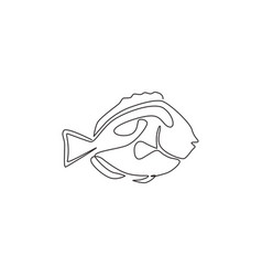 Single one line drawing funny blue tang fish vector