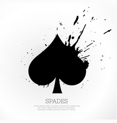 Spades symbol with ink splatter vector