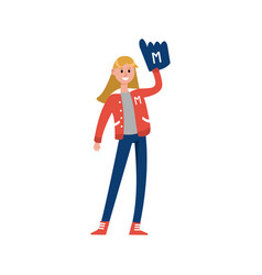 Sport fun girl standing and rising hand with foam vector