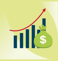 statistic graph chart bag money arrow profit vector image