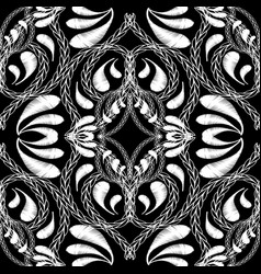 stitching embroidery floral black and white vector image
