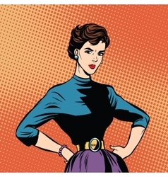 Strict beautiful retro woman vector