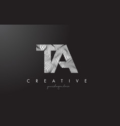 Ta t a letter logo with zebra lines texture vector
