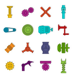 Techno mechanisms kit icons doodle set vector