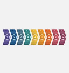 timeline arrows nine positions vector image