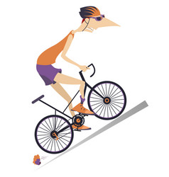tired cyclist rides a bike vector image