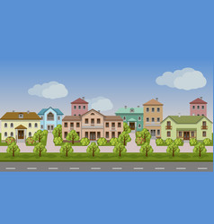 urban landscape set of town houses along city vector image