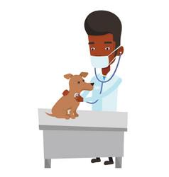 Veterinarian examining dog vector